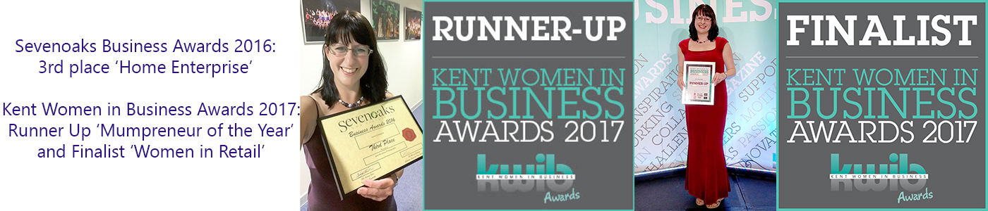 Photos of Jane Mucklow with her business awards, plus awards logos