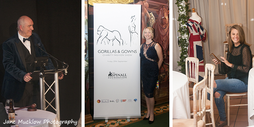 Photographs of Paul Andrews, Amanda Flanders, hosts of the fashion show at Port Lympne, and Molly Wright covering social media, by Jane Mucklow