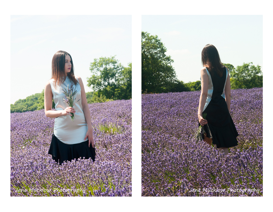Two photo of a silver and black dress by Caroline Bruce Designer Dresses, by Jane Mucklow