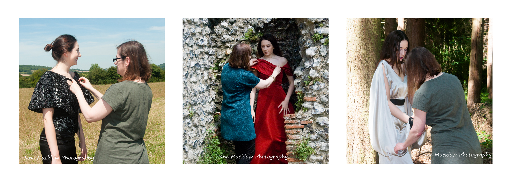 Three photos of Caroline Bruce and model Jenny in different designs by Caroline, by Jane Mucklow