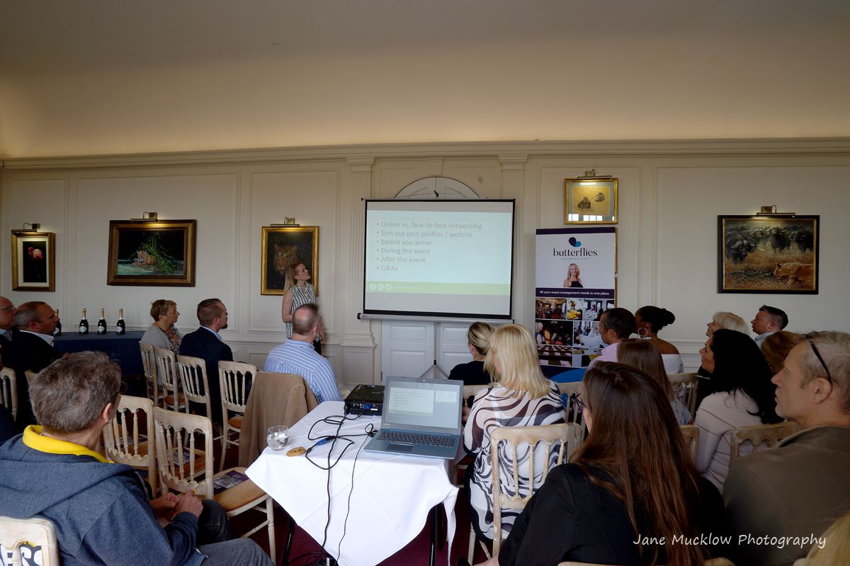 Photo of Amy McManus' talk at the Networkers Networking event at Port Lympne, by Jane Mucklow