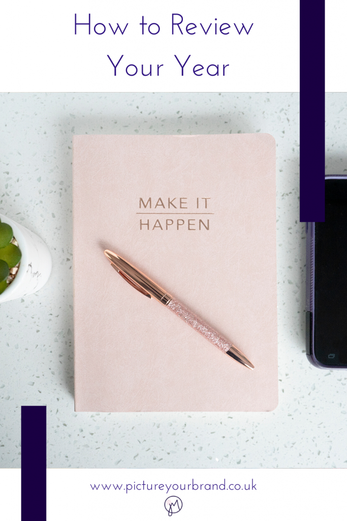 Blog picture for Pinterest, photo of a notebook and pen, by Jane Mucklow, for blog post on how to review your year.