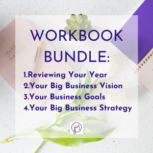 Featured image title for a Workbook Bundle of four workbooks on goals, vision and strategy for your business, by Picture Your Brand/Jane Mucklow Photography