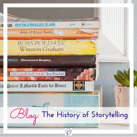 Photo of books on a shelf, Featured Image for blog post on the History of Storytelling, by Jane Mucklow of Picture Your Brand