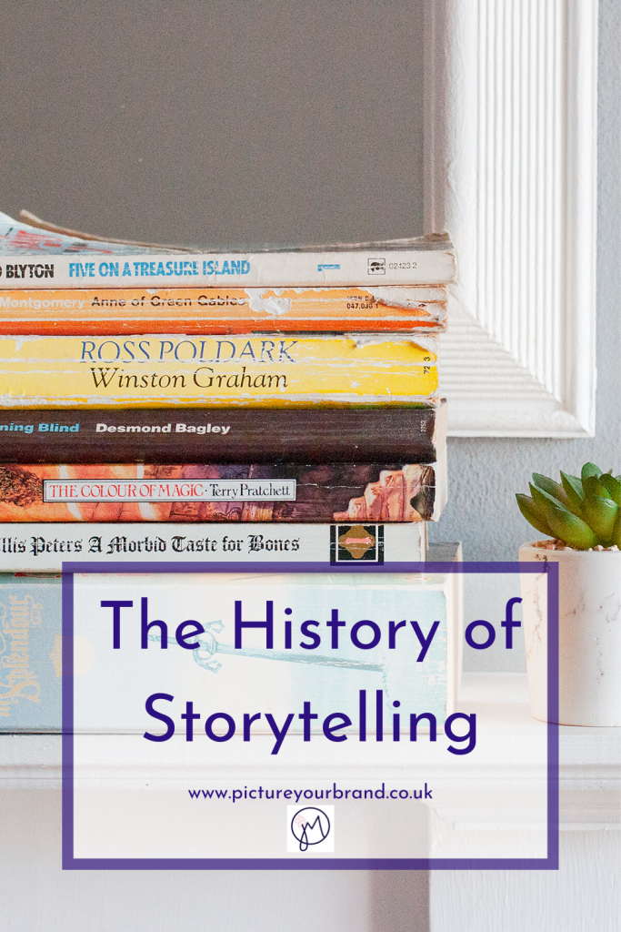 Photo of books on a shelf, pinterest image for blog post on the History of Storytelling, by Jane Mucklow of Picture Your Brand