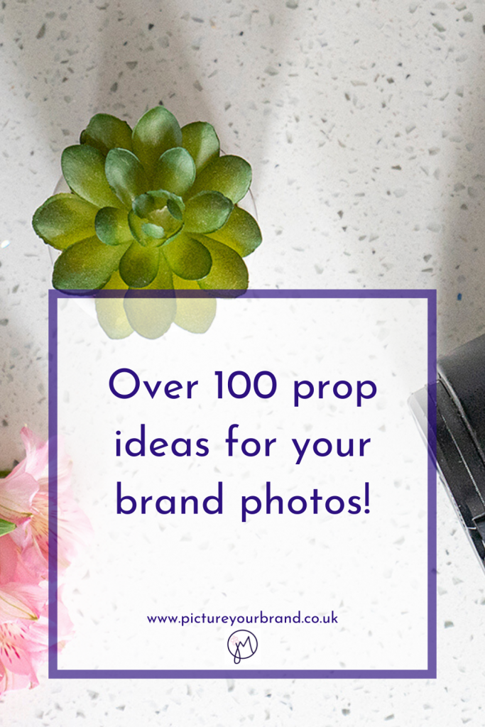 Photo by Jane Mucklow of her camera and props for a Picture Your Brand blog about prop ideas for your brand photos, pinterest image.