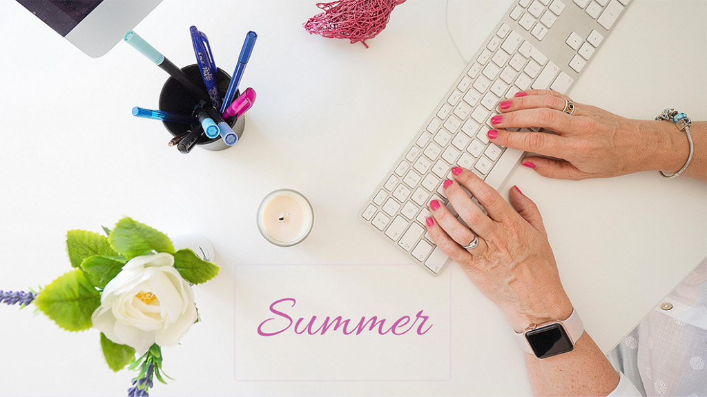 Photo of a white desktop and props, by Jane Mucklow, example of a Summer season style for blog on an introduction to seasonal colour theory for brands