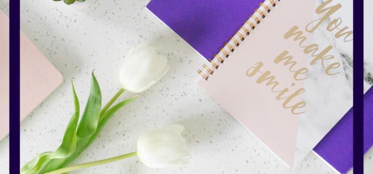 Photo of notebooks and tulips for why do I need a brand blog by Jane Mucklow Picture Your Brand