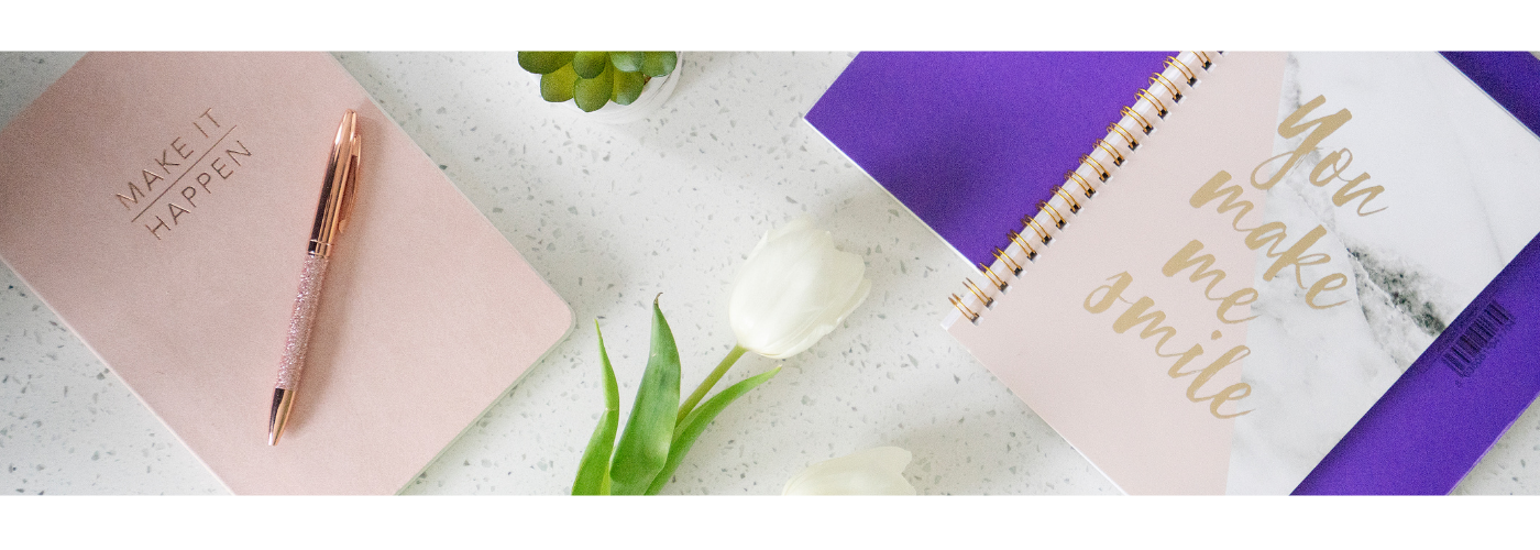 Photo of notebooks and tulips for why you need a brand blog by Jane Mucklow Picture Your Brand