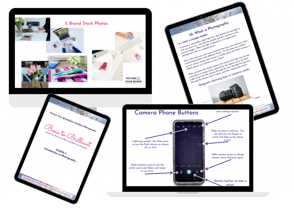 Examples of the Basic to Brilliant online photography course materials, by Jane Mucklow Picture Your Brand