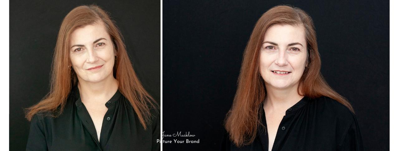 Jane Mucklow Picture Your Brand, headshots of Caroline Bruce x2 black background