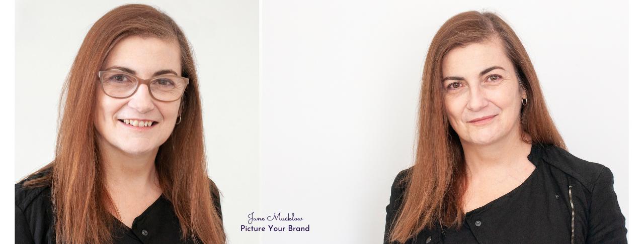 Jane Mucklow Picture Your Brand, headshots of Caroline Bruce x2 black tops