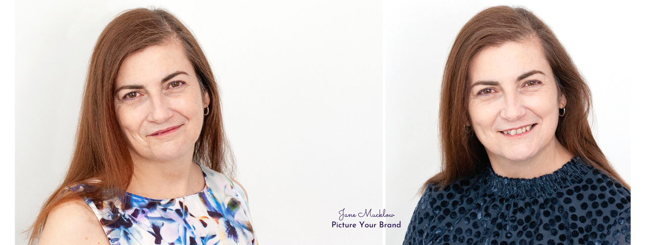 Jane Mucklow Picture Your Brand, headshots of Caroline Bruce x2 blue tops