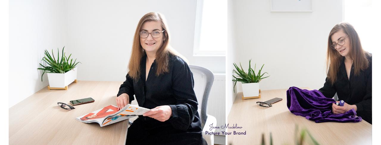 Jane Mucklow Picture Your Brand, headshots of Caroline Bruce x2 desk shots