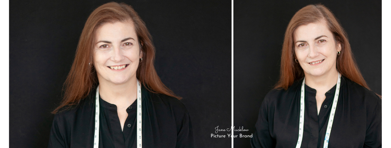 Jane Mucklow Picture Your Brand, headshots of Caroline Bruce x2 with tape measure
