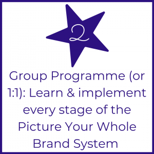 Picture Your Brand Academy step 2 website button for group programme or 1:1